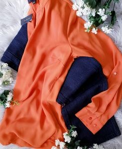 The Limited V-Neck Orange Sheer Blouse